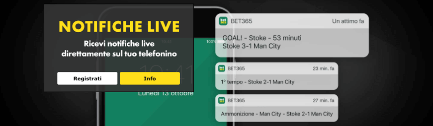 bet365 notifiche live