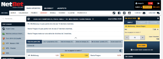 Pari Simple sur NetBet